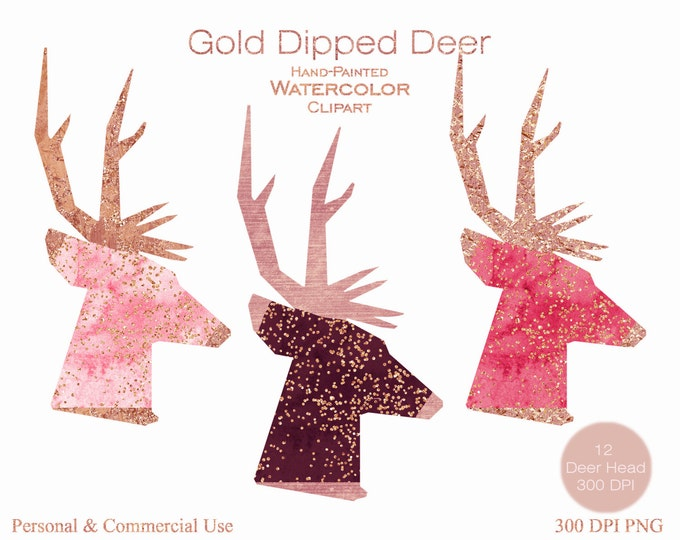 GOLD CONFETTI DEER Clipart Commercial Use Clipart 12 Watercolor Deer Head Graphics Gold Foil Metallic Confetti Stag Buck Antlers Clip art