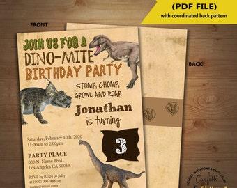 Dinosaur Birthday Invitation dino party invite Instant Download YOU EDIT TEXT and print invite 5153
