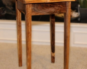 Small End Table with Drawer.  Live edges. Walnut. Handmade. Nightstand, End Table, Side Table