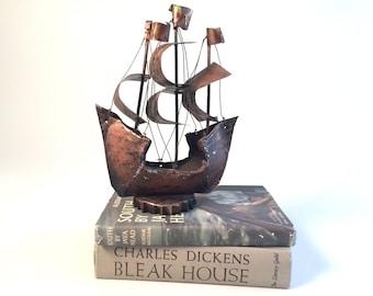 Brutalist Metal Copper Brass Tin Ship
