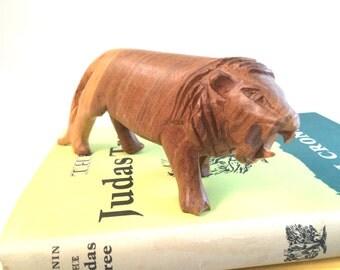 Vintage Wooden Hand Carved African Lion Figurine
