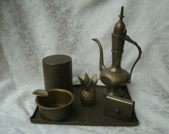 Solid Brass Incense Burning Set India 8 Piece Parlor Tray Vintage