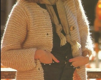 Womans Easy Knit  Long Cardigan Sweater Coat jumper tunic  long sleeves buttoned sweater vintage pattern instant download pdf