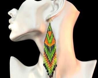 beautiful earrings sparkling fillante cascade colors, beaded Japanese miyuki