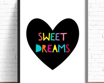 Nursery Print Sweet Dreams Heart Print  Girls Bedroom Wall Art - A4 Print - 8x10 Print - Girls Print