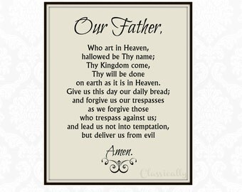Our Father Prayer Print, 5x7 8x10 Print, The Lord's Prayer, Word Art Print, Christian Print, Catholic Wall Art, Catholic Faith
