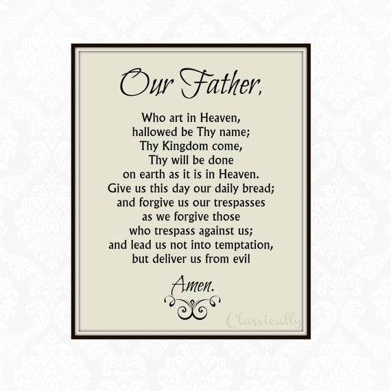 Our Father Prayer Printable of Catholic Lord's Prayer