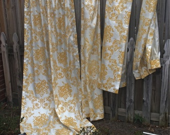 1970's vintage harvest gold draperies drapes curtains window treatment handmade  2 panels each 25 X 85 inches