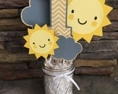 You Are My Sunshine Centerpiece Happy Birthday Sunshine Party Decor Photo Prop Suns Chevron Yellow And Gray Decorations I am One