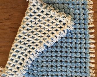 Baby blue Pom Pom Blanket