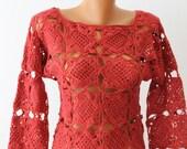 Women Sweater, Crochet Sweater, Boutique Sweater, Tunic