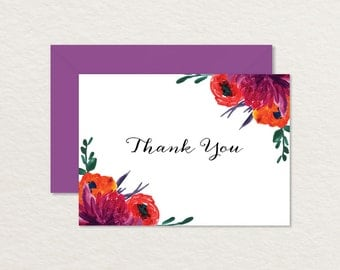 Printable Thank You Card 4 bar / Painted Flowers / Floral Thank You / Printable Wedding Thank You / Hand-painted Floral Card / Shower Card