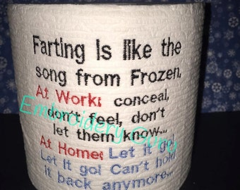 Gag Gift, Embroidered Toilet Paper