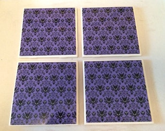 Disney Haunted Mansion Coasters Set of 4 Tile coasters 4 x 4