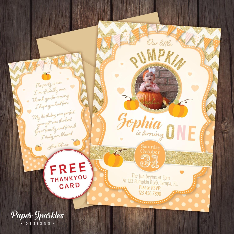 Pumpkin First Birthday First Birthday Invitation Halloween