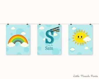 Blue Sky Art Print,Nursery Poster,Nursery Print,Nursery Art,Home Decor,Nursery Wall Art,Kid Art,Baby  Art, Nursery Set [LMNS0013-P]