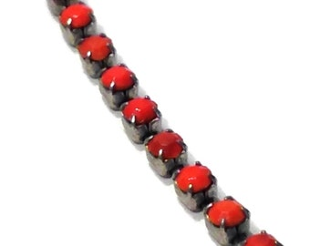 """Vintage bead chain necklace 16"""" silver tone orange red beaded choker"""