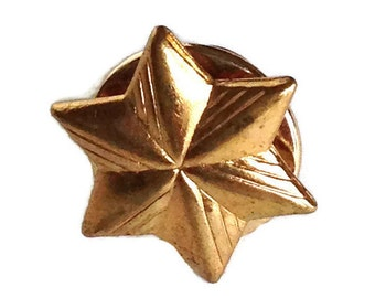 Vintage 6 point star pin gold tone metal tie tac lapel pin