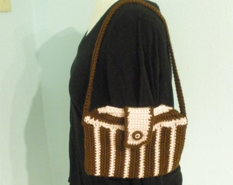 Brown-and-Pink-Striped Purse