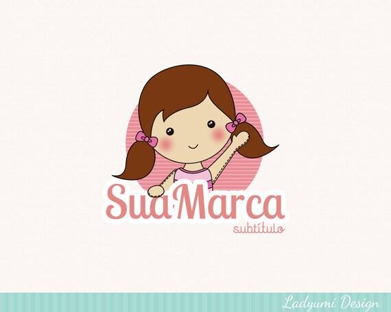 girl logo design kids logo ooak logo cute premade by