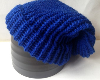 Blue Knitted Slouch Hat - Ready To Ship Adult/Teen Loom Knit Hat