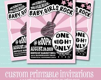 Baby Girls Rock BABY SHOWER Invitation, Rock n Roll, PRINTABLE, Baby Shower, Invitation, Custom, Digital, Guitar, Rock, Rock n Roll Baby