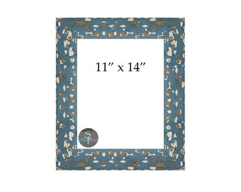 "Hand-painted 11"" x 14"" Wood Photo Frame - Blue"
