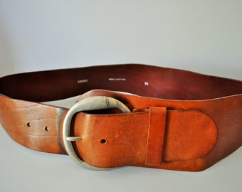 Vintage Brown Genuine Leather Belt / Big / High waist / size 95 / Buckle / Hippie