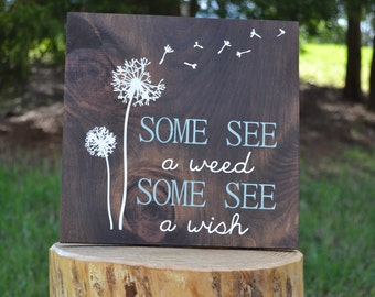 Dandelion Sign - Some See A Weed - Some See A Wish - Dandelion Decor - Dandelion Wall Art - Dandelion Art - Nature Wall Art - Nature Decor
