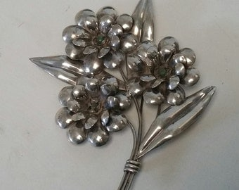 Exceptional 3-D Sterling Silver Flower & Leafs Art