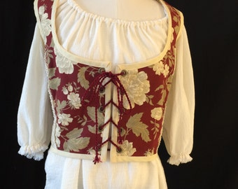 Red Floral Brocade Renaissance Bodice with Added Detail - Size Large