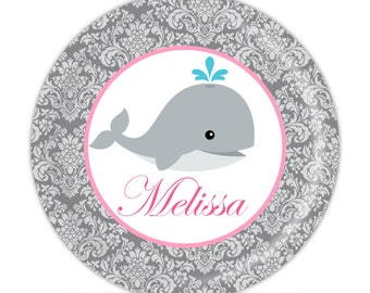 Personalized Whale Plate - Grey Damask, Pink Whale Dinner Plate, Baby Whale Melamine Plate, You Pick Color - Kids Personalized Gift under 25