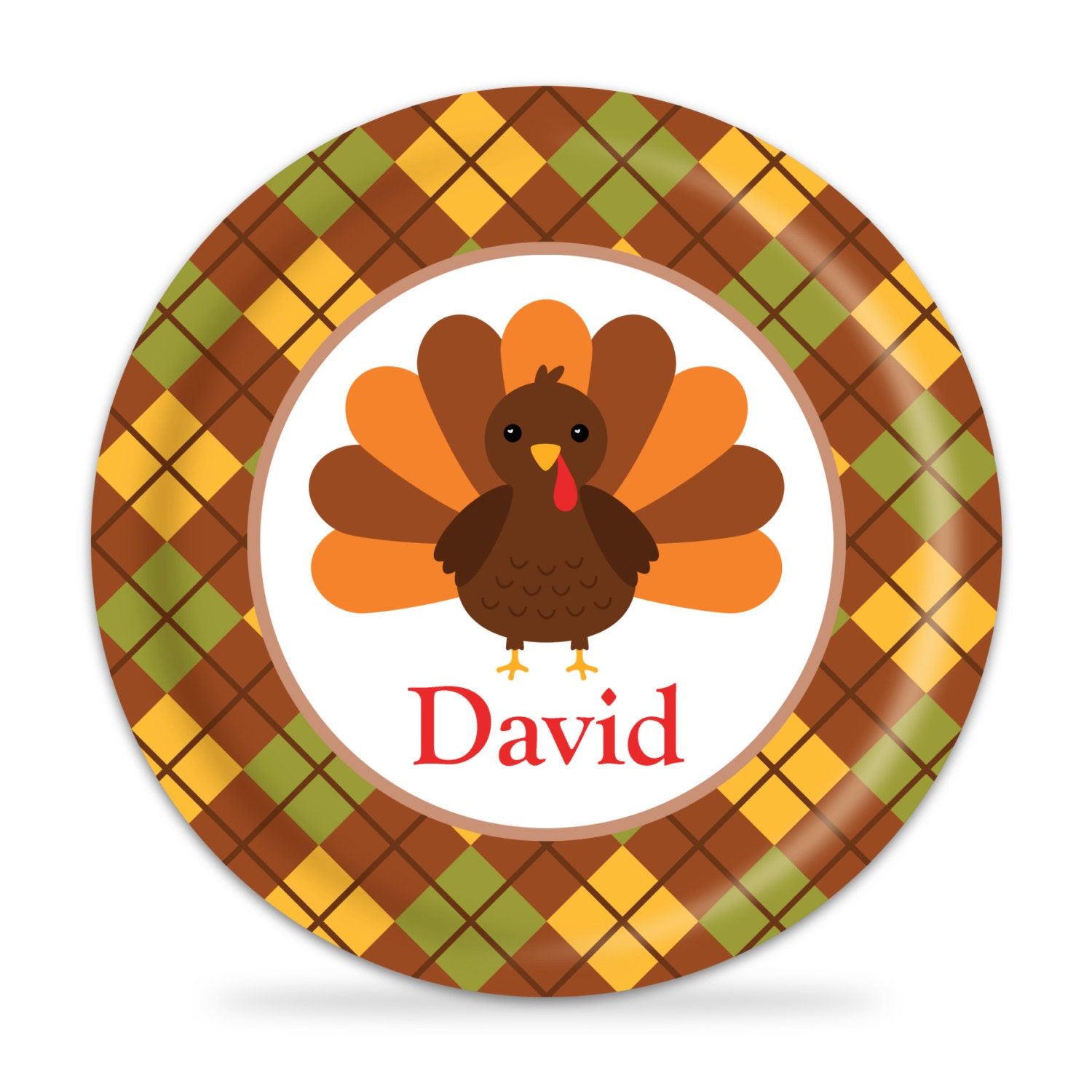 personalized thanksgiving plate turkey dinner plate brown. Black Bedroom Furniture Sets. Home Design Ideas