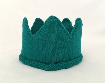 Teal Knitted Crown - Little Royal