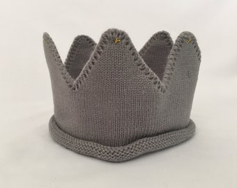 Grey Knitted Crown - Little Royal