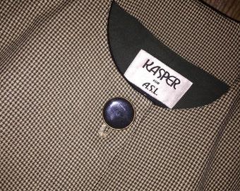 Vintage KASPER Micro Houndstooth Check Skirt & Jacket Suit Sz 6