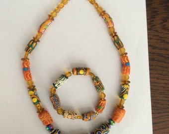 African bead necklace and bracelet