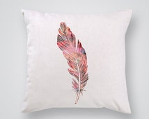 Feather Pillow Cover - Home Decor - Decorative Throw Pillow - Colorful Accent Pillow