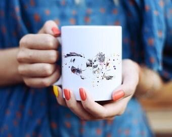 Girl with Tattoo Mug - Watercolor Mugs - Ceramic Mug - Art Mug - Colorful Coffee Mug