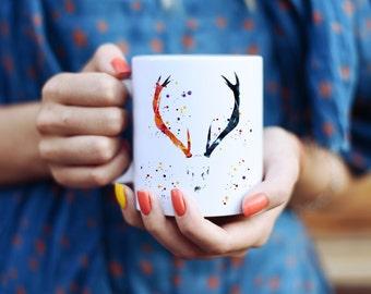 Deer Skull Mug - Watercolor Mugs - Ceramic Mug - Art Mug - Colorful Coffee Mug