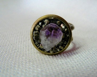 Amethyst and Pyrite Bronze Orbit Ring - RG 242
