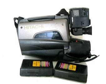 Vintage 1994 Hitachi 3700A VHS Handheld Camcorder with 2 Batteries