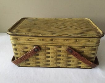 Vintage picnic basket, tin with wood handles.  Large lunch box or small picnic tin