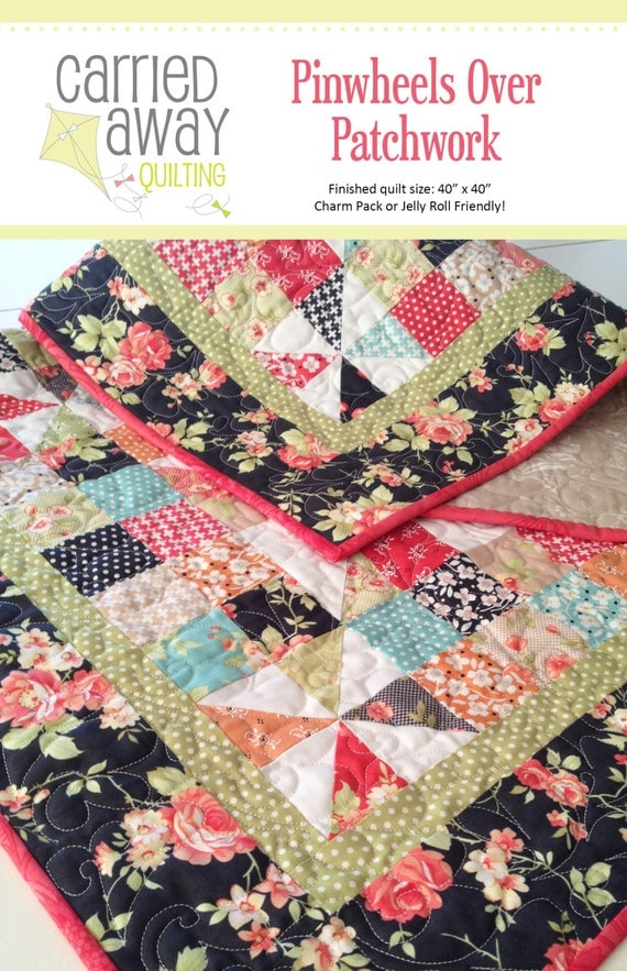 Digital Pattern Pinwheels Over Patchwork Quilt