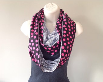 Black and pink black and white reversible infinity scarf double loop