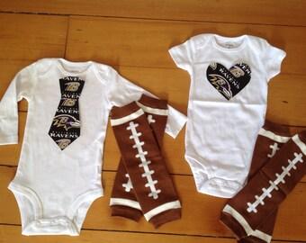 Go Baltimore Ravens! Baby Bodysuit set for little Ravens fan. Ravens baby boy, Ravens baby girl. Baby shower gift idea.