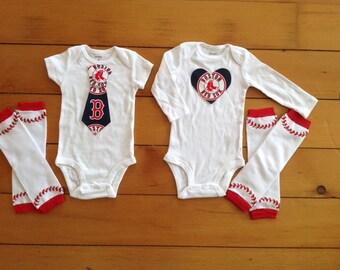 Go Boston Red Sox! Baby Bodysuit set for little Red Sox fans. Red Sox baby girl, red socks baby boy. Baby shower gift idea.