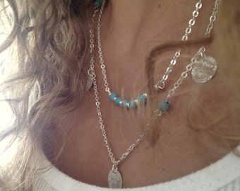 Silver Coin Turquoise Necklace with two chains, Bohemian Boho style