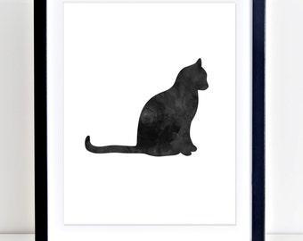 Cat Print, Black Cat Art, Printable Wall Art, Watercolor Cat, Cat Wall Art, Cat  Art, Digital Print, Printable Cat Art, Black Cat Print