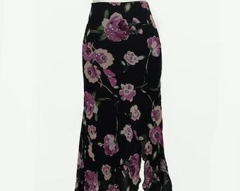 Floral 90s Slit Skirt by Romerecci